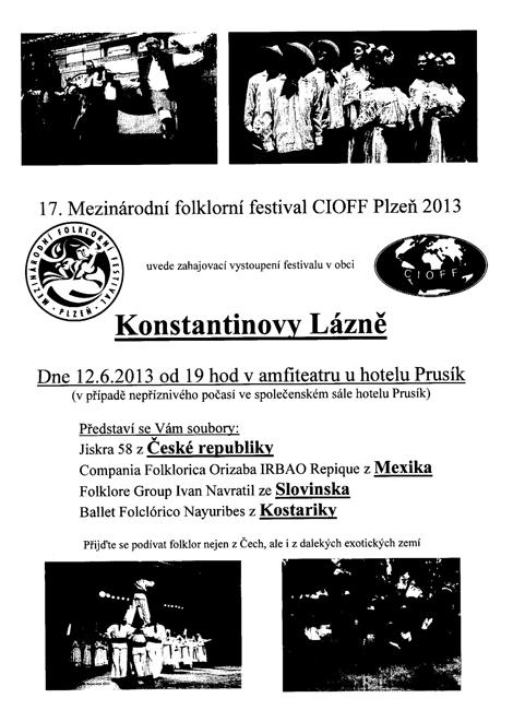 17. Mezinárodní folklorní festival CIOFF Plzeň 2013