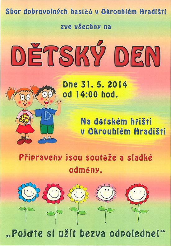 Sbor dobrovolných hasičů v Okrouhlém Hradišti zve všechny na Dětský den.